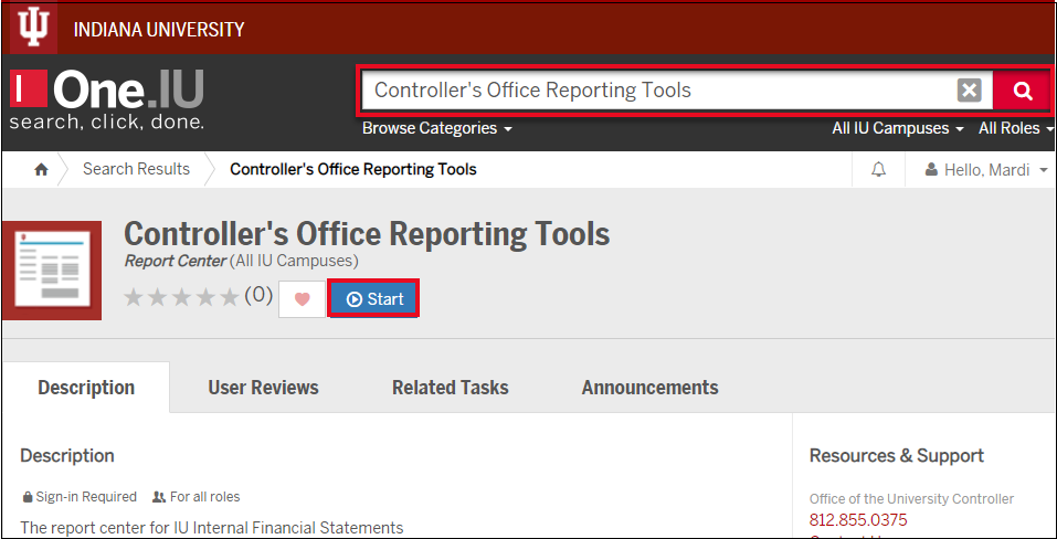 Screenshot of Controller's Office Reporting Tools in One.IU