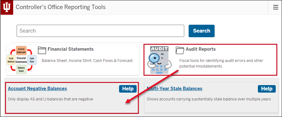 Screenshot highlighting where to click to find Accoutn Negative Balance report